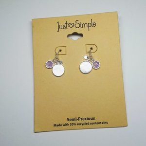 NWT Just Simple Earrings Purple and Silver Charms